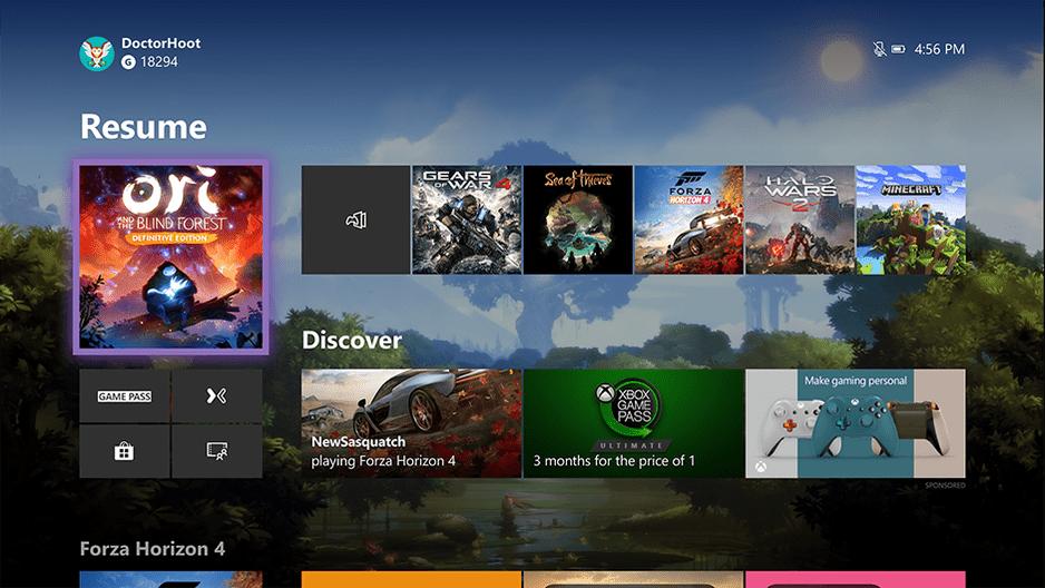 Nuevo menú inicio de Xbox One
