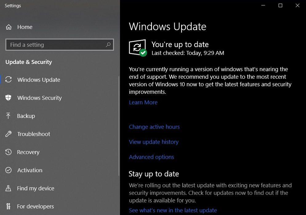 Windows 10 recordatorio para actualizar porque la versión se queda sin soporte