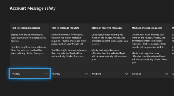 Configuración de los mensajes con los filtros en Xbox One