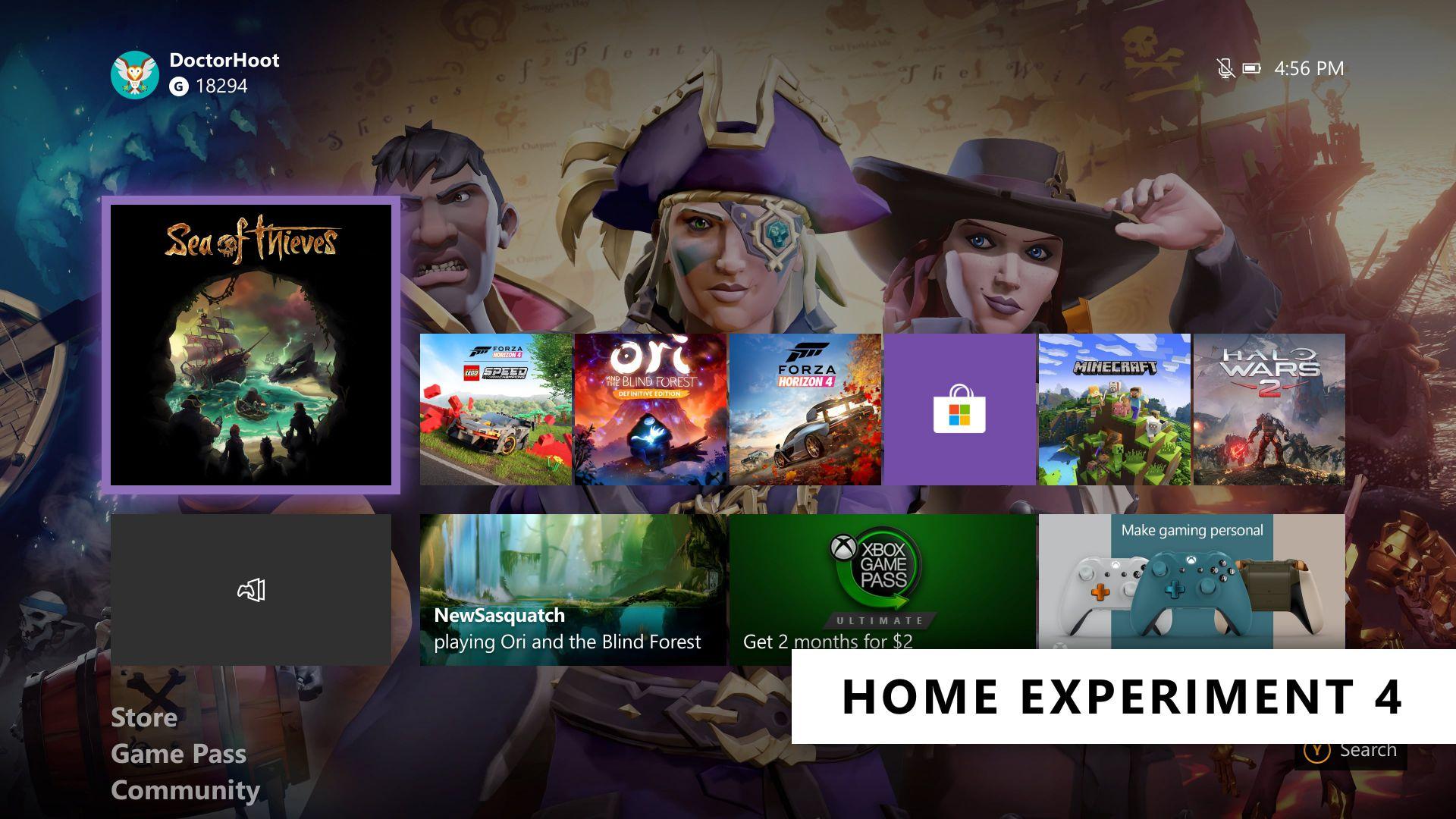 Experimento para el grupo B de la interfaz de Inicio de Xbox One