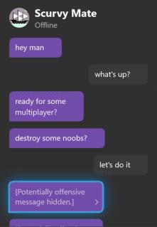 Uno de los Filtros, Amistoso, de Xbox One en los mensajes