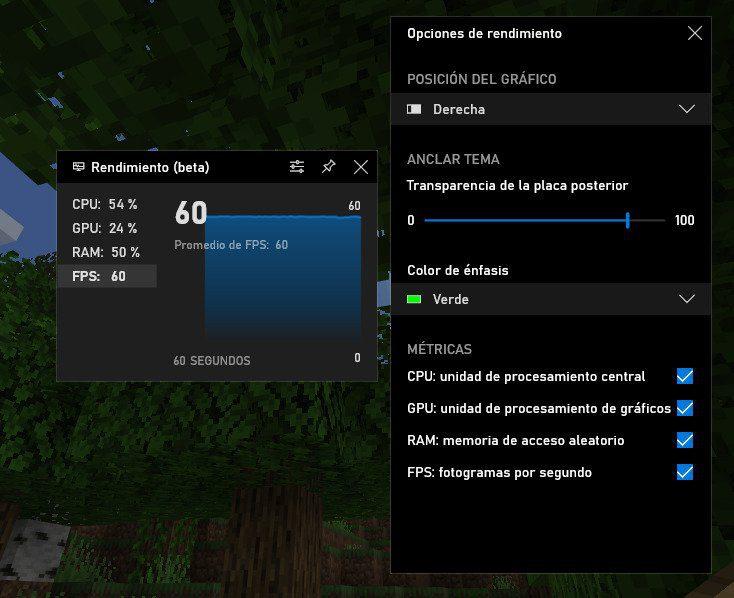 Personalización del Rendimiento de la barra de juego de Xbox en Windows 10
