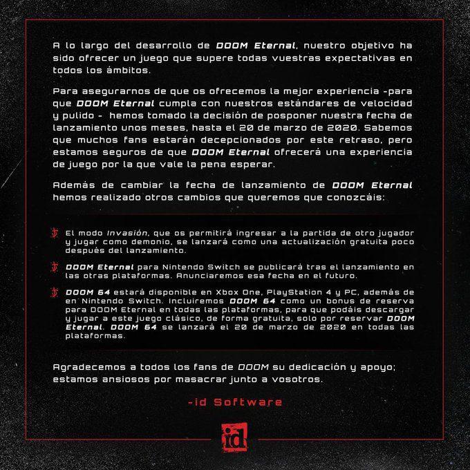 DOOM Eternal retrasado a 2020, Doom 64 será bonus de reserva para todas las plataformas
