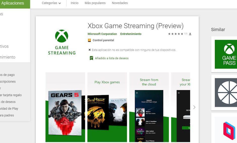 La app de Xbox Game Streaming aparece en Google Play Store