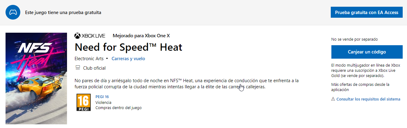 Ya disponible la prueba gratuita de Need for Speed Heat en EA Access