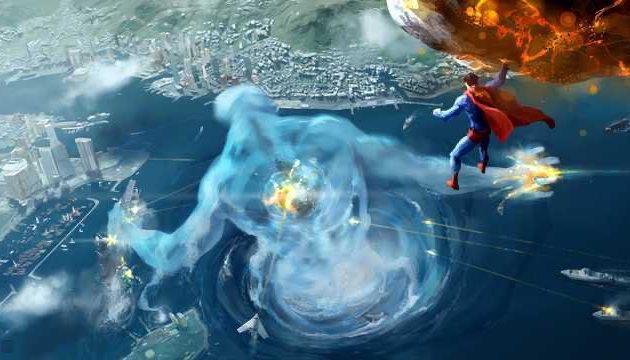 Artwork de Superman luchando