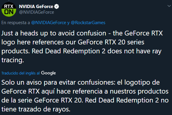 NVIDIA Tweet Red Dead Redemption 2