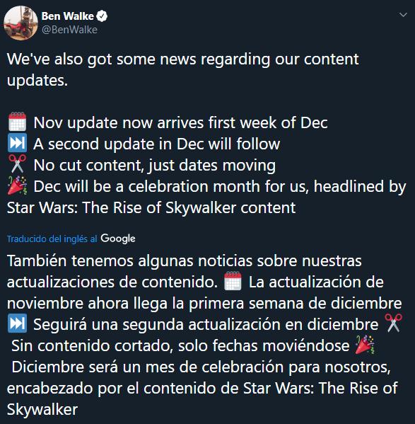 Star Wars Battlefront II Tweet
