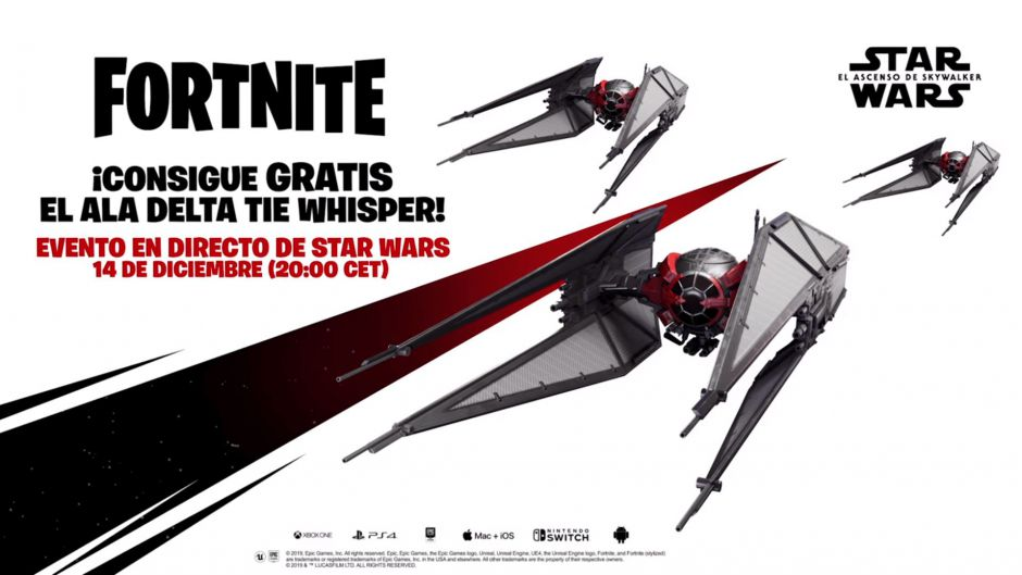 Consigue gratis en Fortnite el Ala Delta TIE Whisper de Star Wars