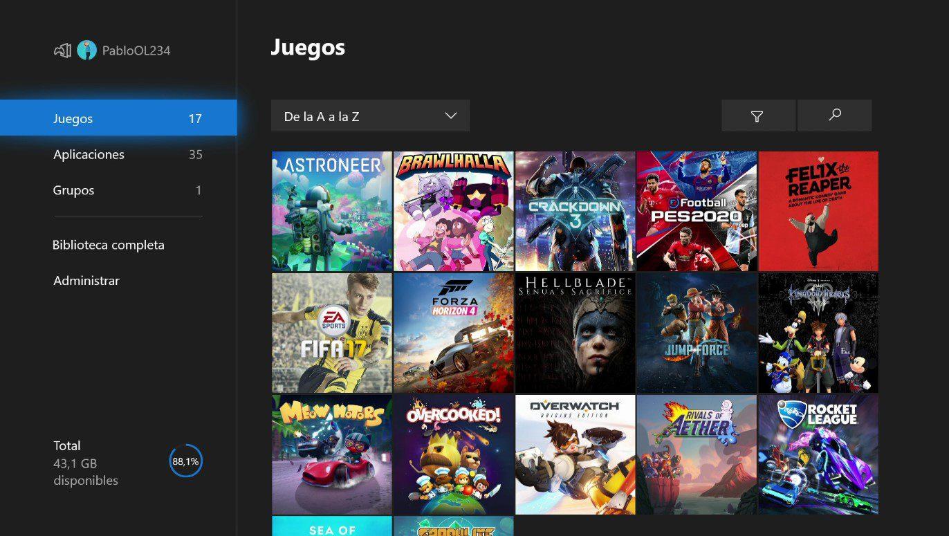 Mis Juegos y Aplicaciones con el nuevo diseño en la actualización de Xbox One Insider