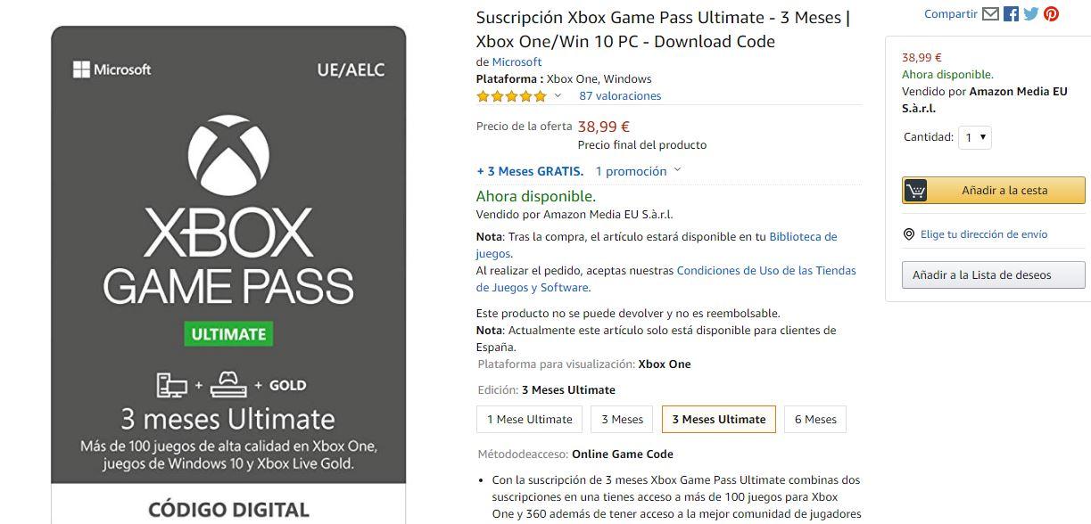 Llévate 1 año de Xbox Game Pass Ultimate 76 euros