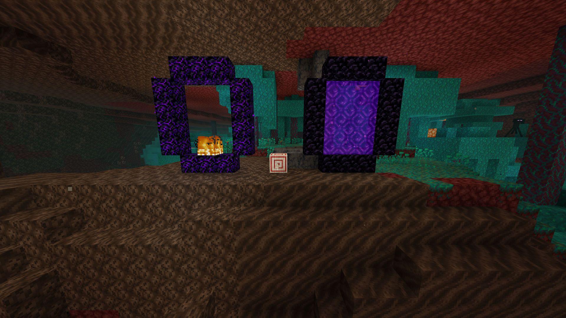Portal con obsidiana llorando y obsidiana normal