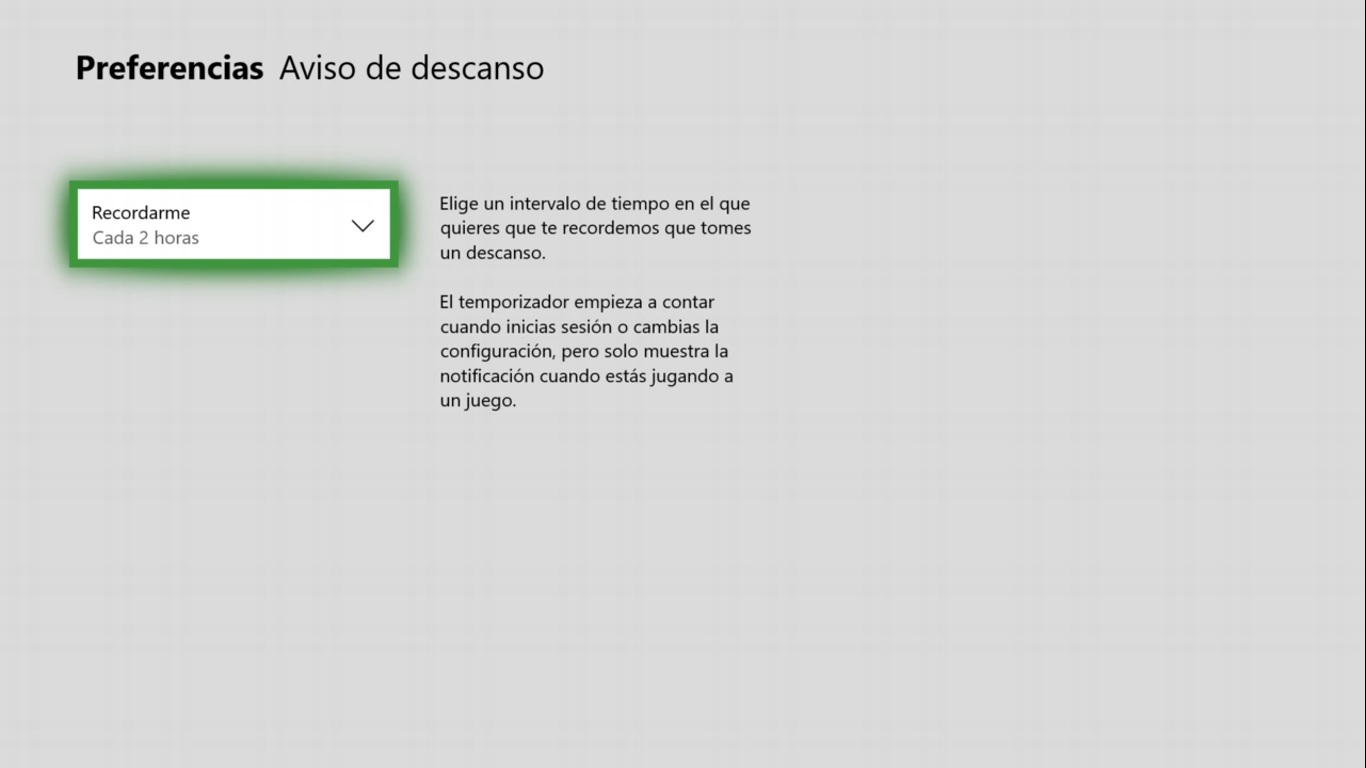 Aviso de descanso en Xbox