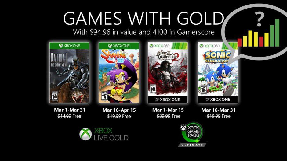 Vota: ¿Qué os parecen los Games With Gold de marzo?