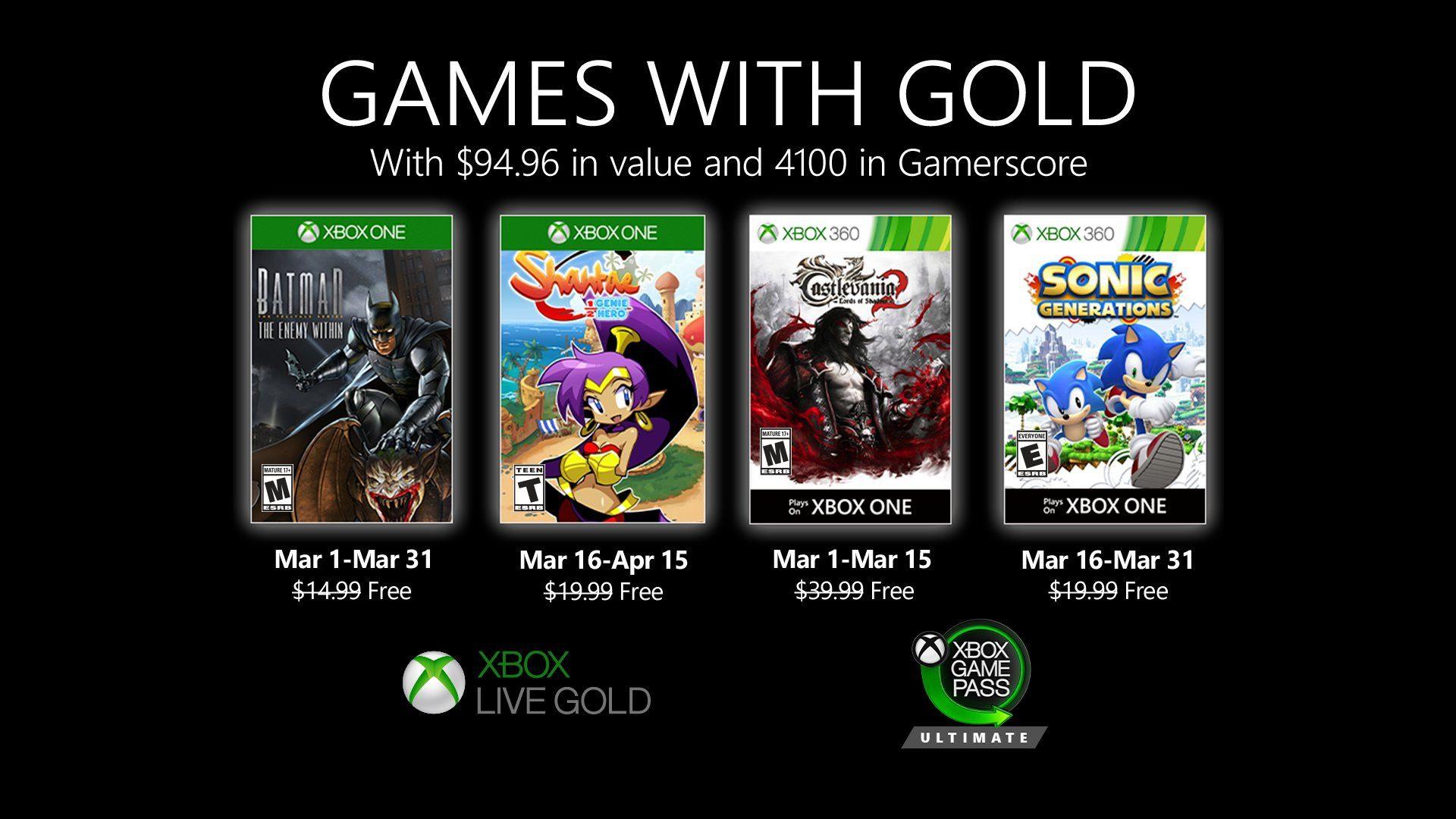 Desvelados los juegos con Gold para el próximo mes de marzo
