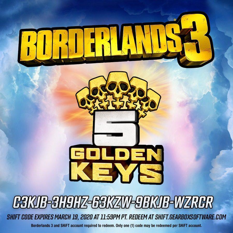 Llaves de oro gratis Borderlands 3