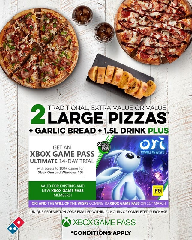 Pizza y Xbox Game Pass