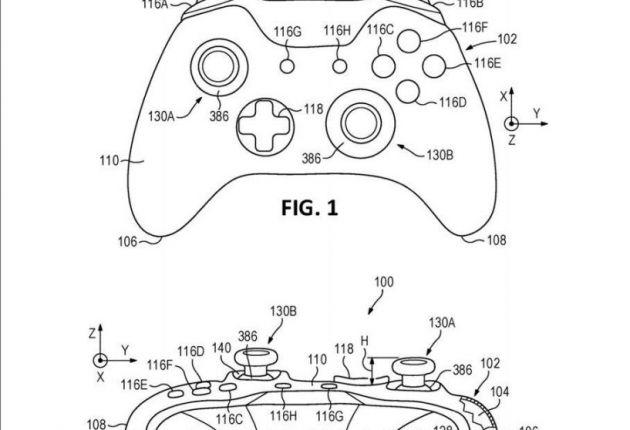 Fotos de la patente para el controlador de Xbox One.