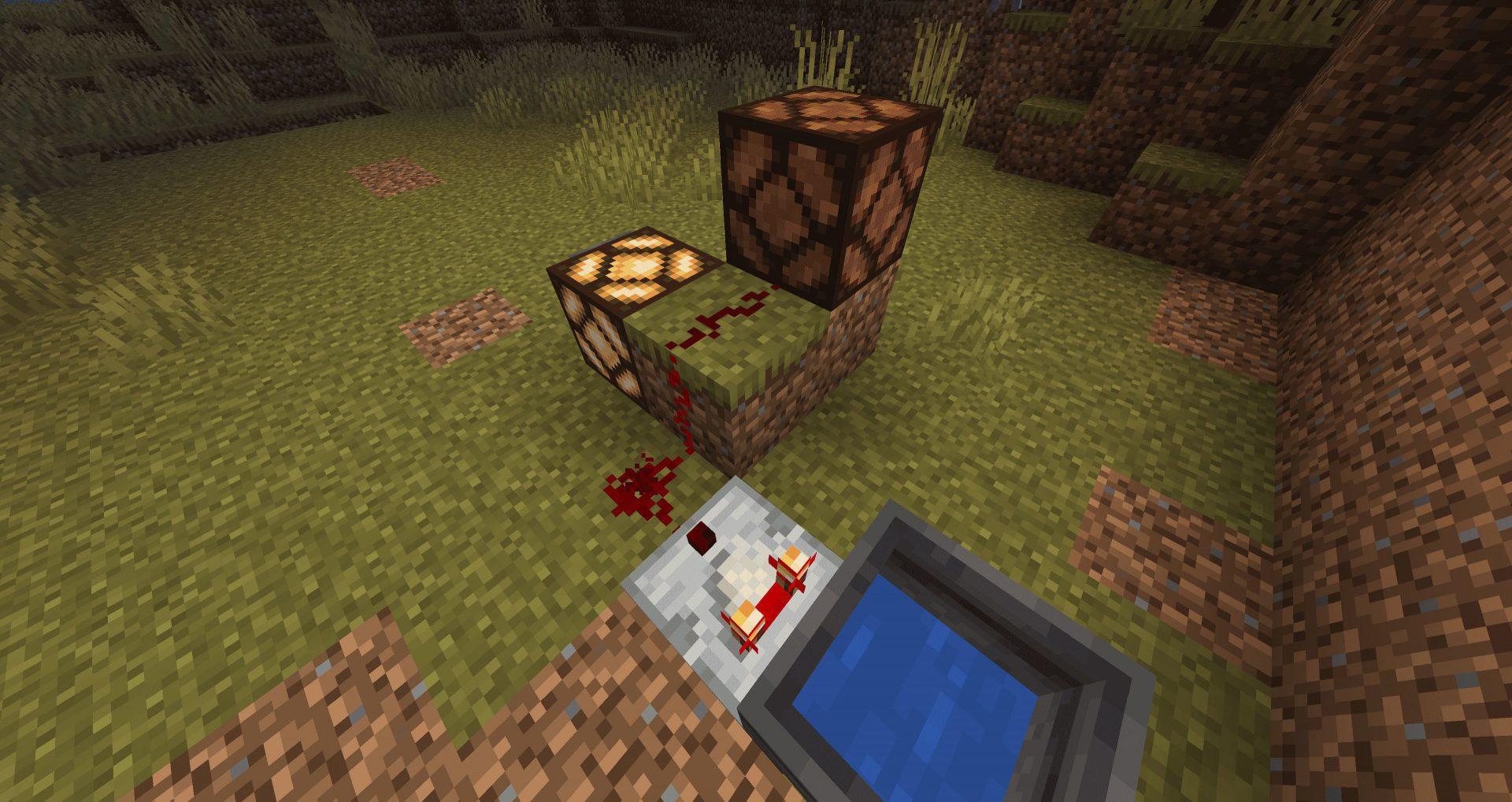 Alimentación de un bloque si la Redstone está encima en la 20W18A de Minecraft nether Update