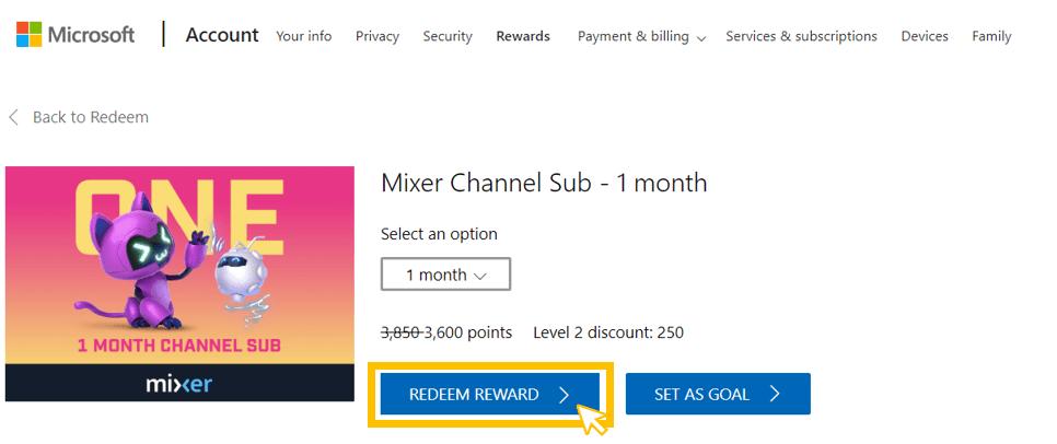 Canjear la suscripción de Mixer en Microsoft Rewards