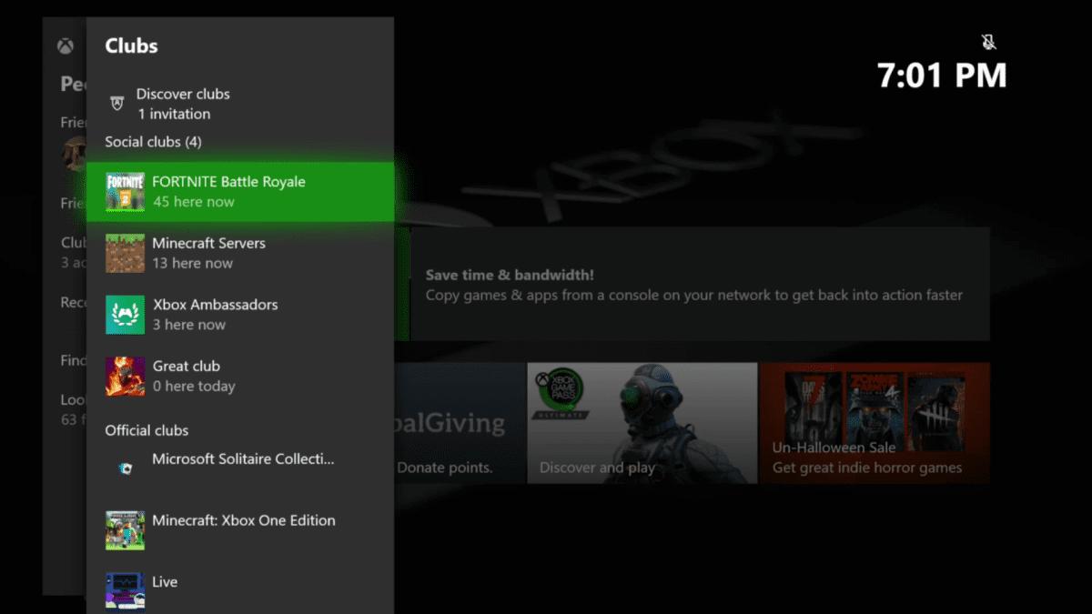Clubs con Discover Clubs en la Guía de Xbox One Insider