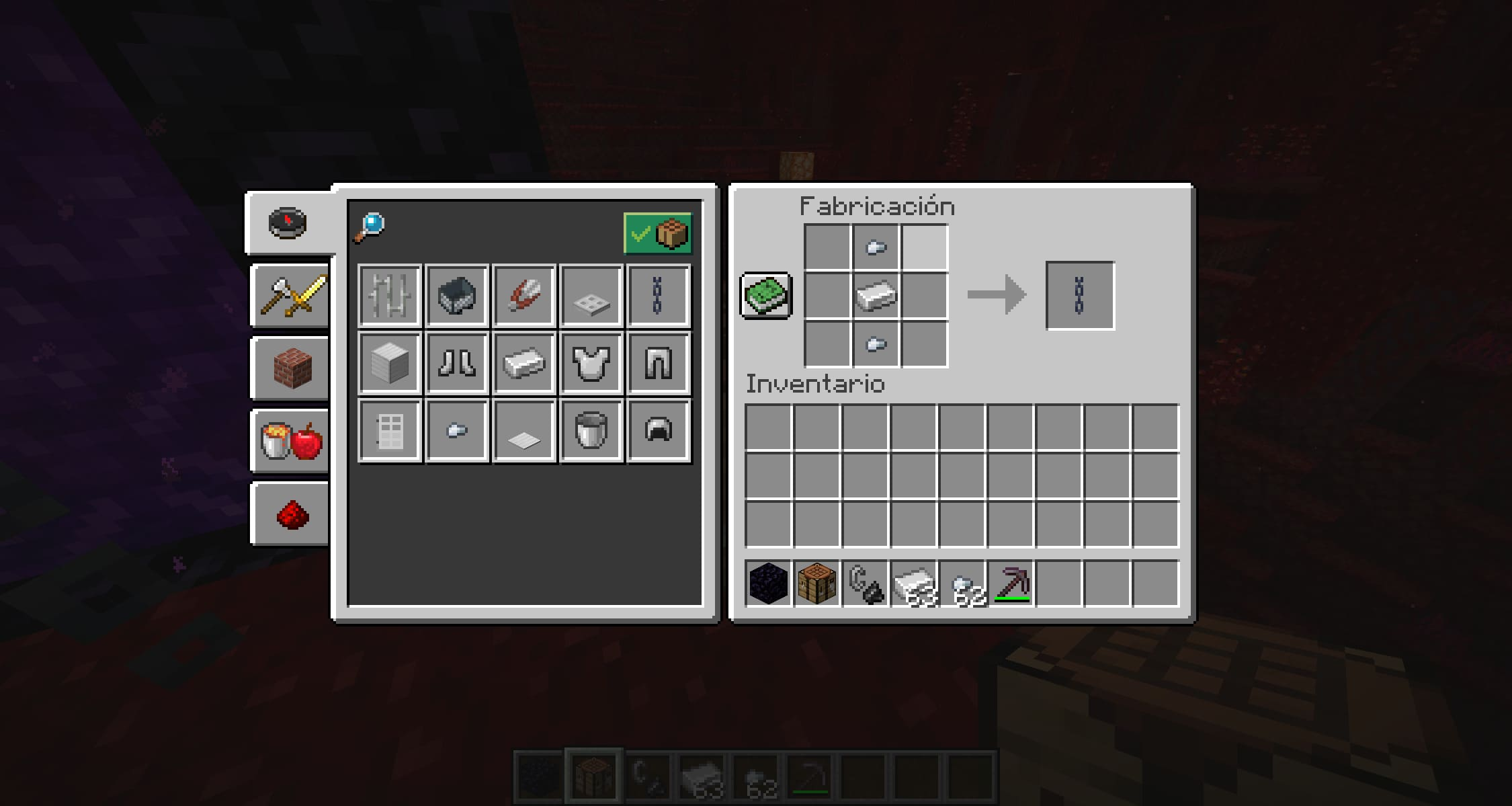 Crafteo de cadenas de Mineacraft Nether Update Snapshot 20W16A