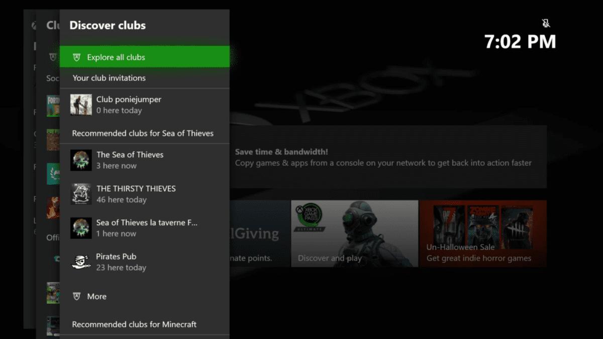 Discover Clubs en la nueva Guía de Xbox One Insider