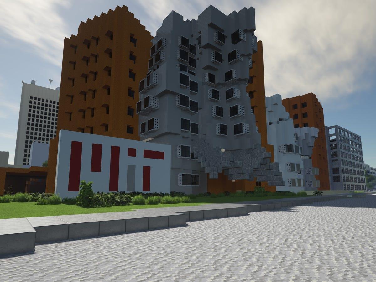 Edificio dentro de Minecraft en el MIT con formas geométricas