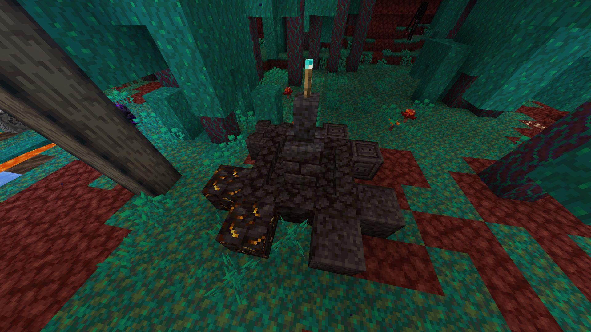 Ejemplo de la Blackstone puesta con una artocha de almas en la 20W15A de Minecraft Nether Update