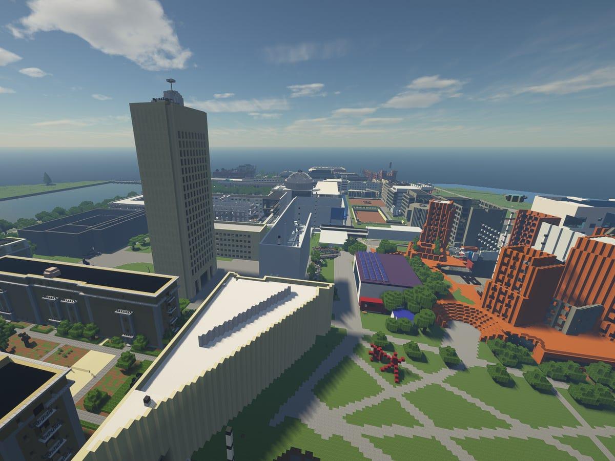 Imagen aerea del MIT en Minecraft
