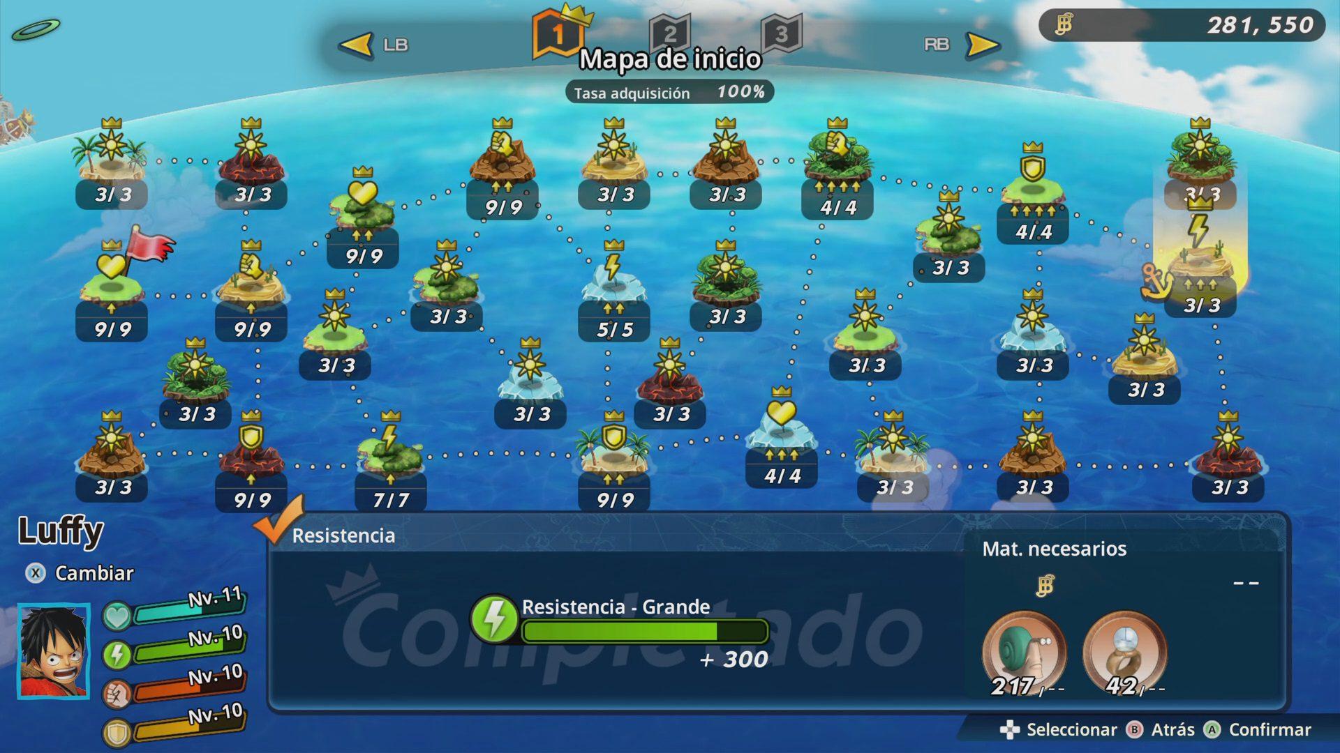 Mapa de inicio completado en One Piece Pirate Warriors 4