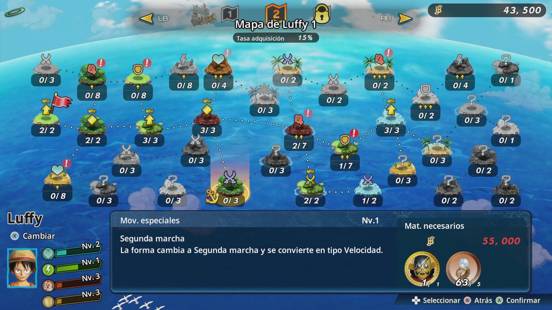 Mapa específico de un personaje en One Piece Pirate Warriors 4