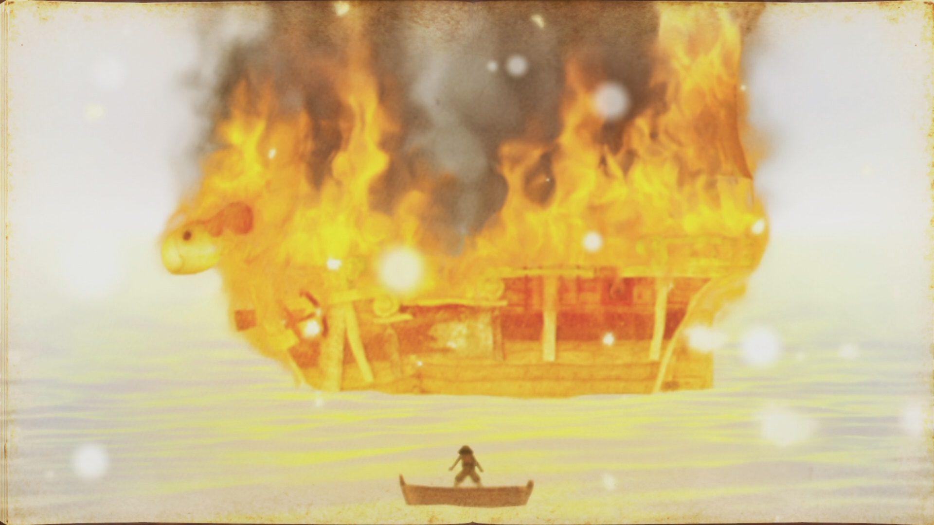 Merry quemándose en One Piece Pirate Warriors 4