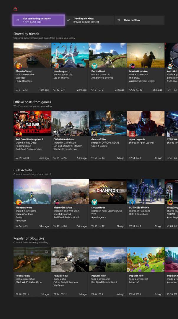 Nuevo layout de la comunidad en Insider de Xbox One