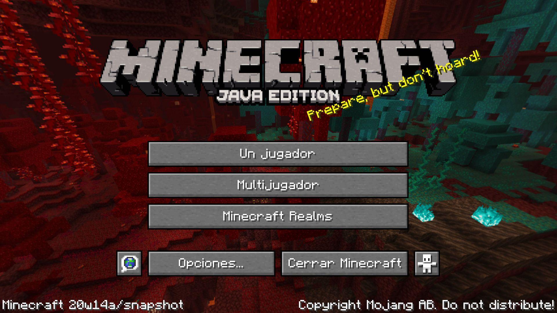Pantalla de inicio de Minecraft 1.16 o Nether Update en la Snapshot 20W14A