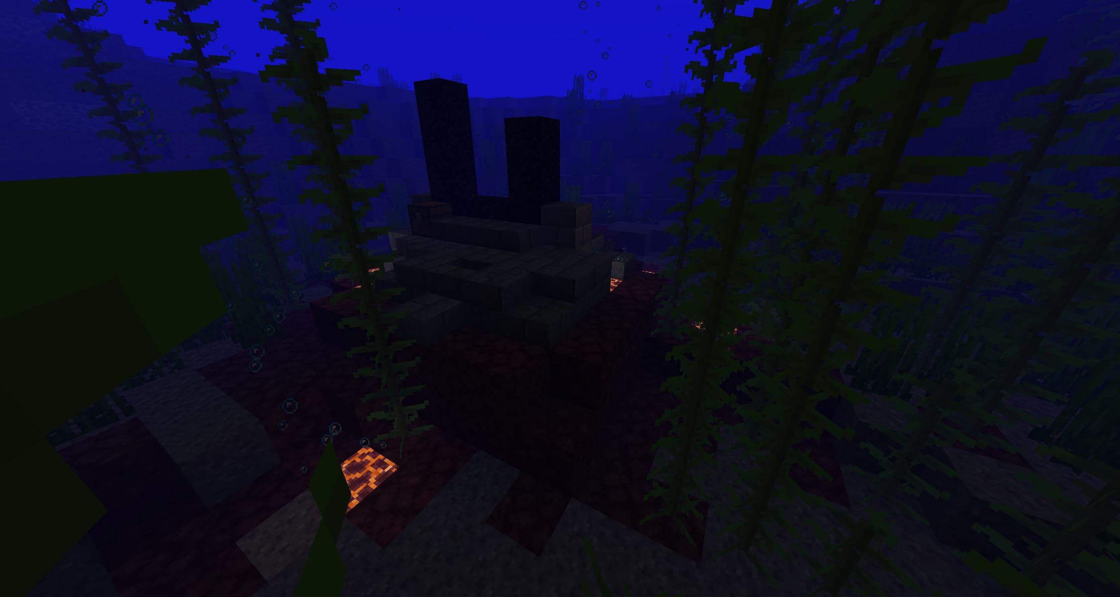 Portal en ruinas debajo del mar en la Minecraft Nether Update Snapshot 20W16A