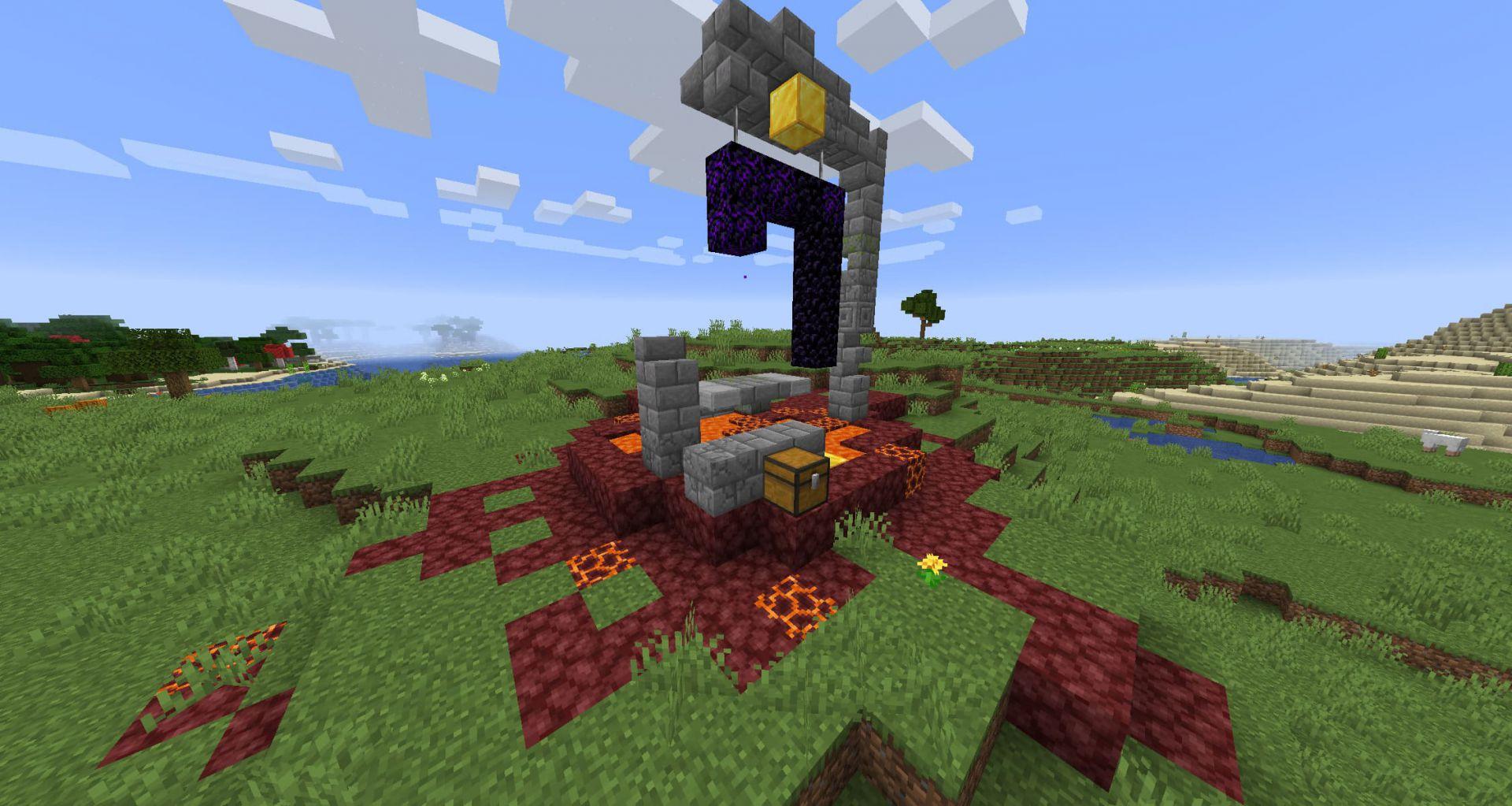 Portal en ruinas en la superficie de Minecraft Nether Update Snapshot 20W16A 1