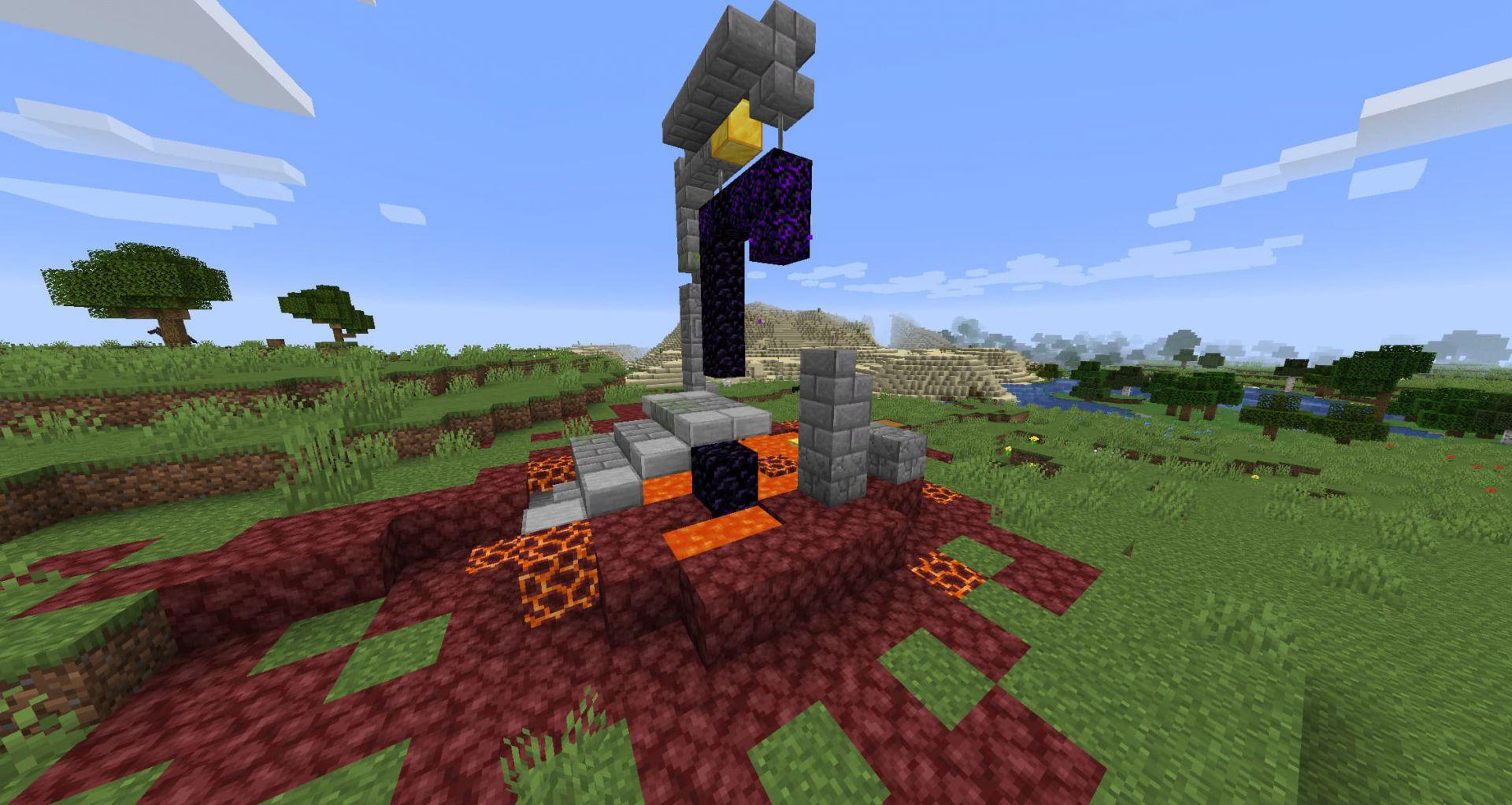 Portal en ruinas en la superficie de Minecraft Nether Update Snapshot 20W16A 2