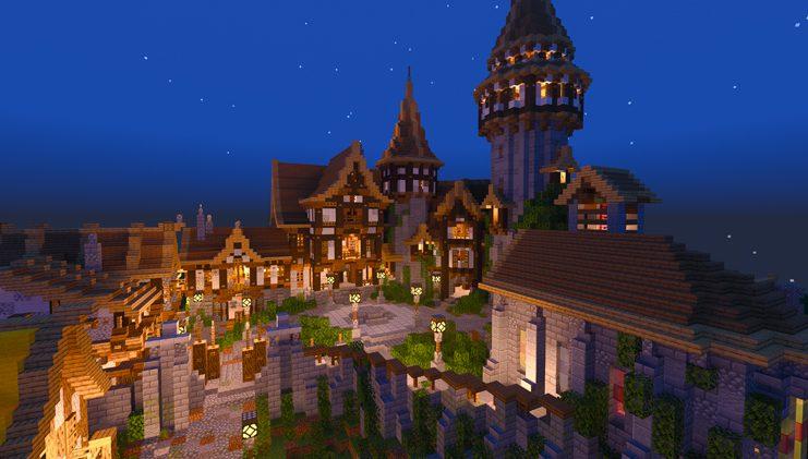 Pueblo de noche en Minecraft RTX