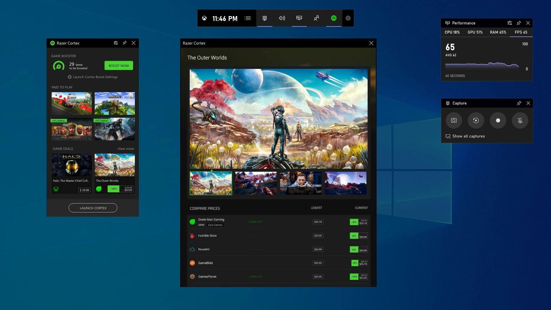 Razer COrtex en la barra de juego de XBox