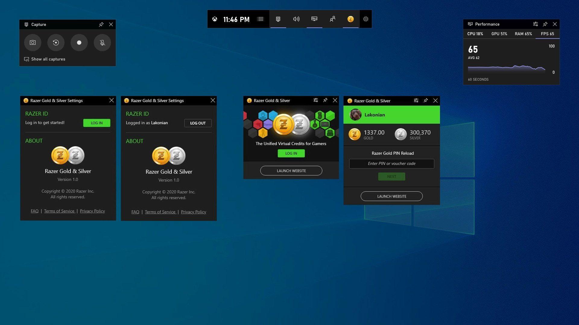 Razer Gold and SIlver en la barra de juego de Xbox en Windows 10