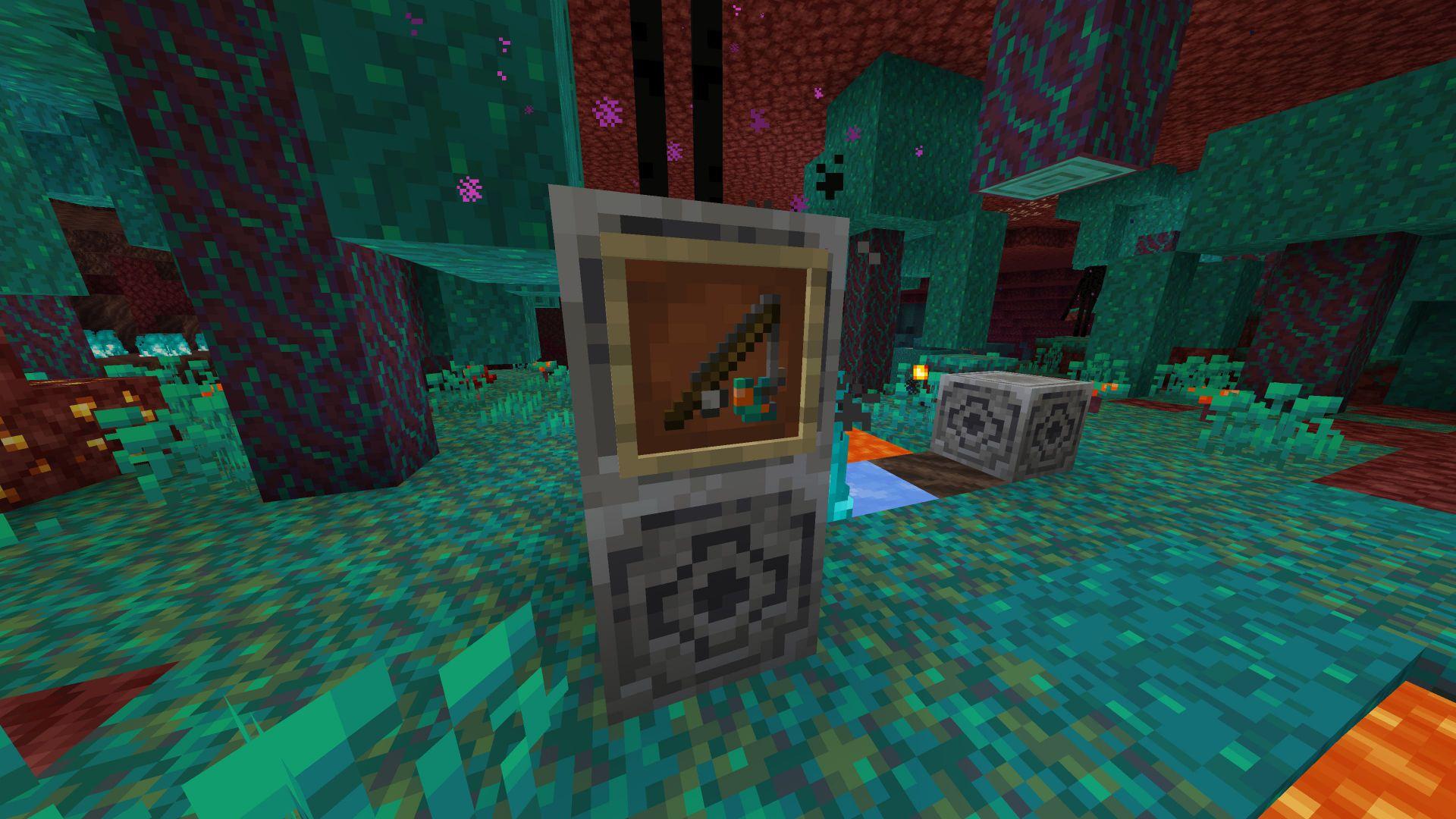 Seta distorsionada en una caña de pescar de Minecraft 1.16 o nether Update en la Snapshot 20W14A