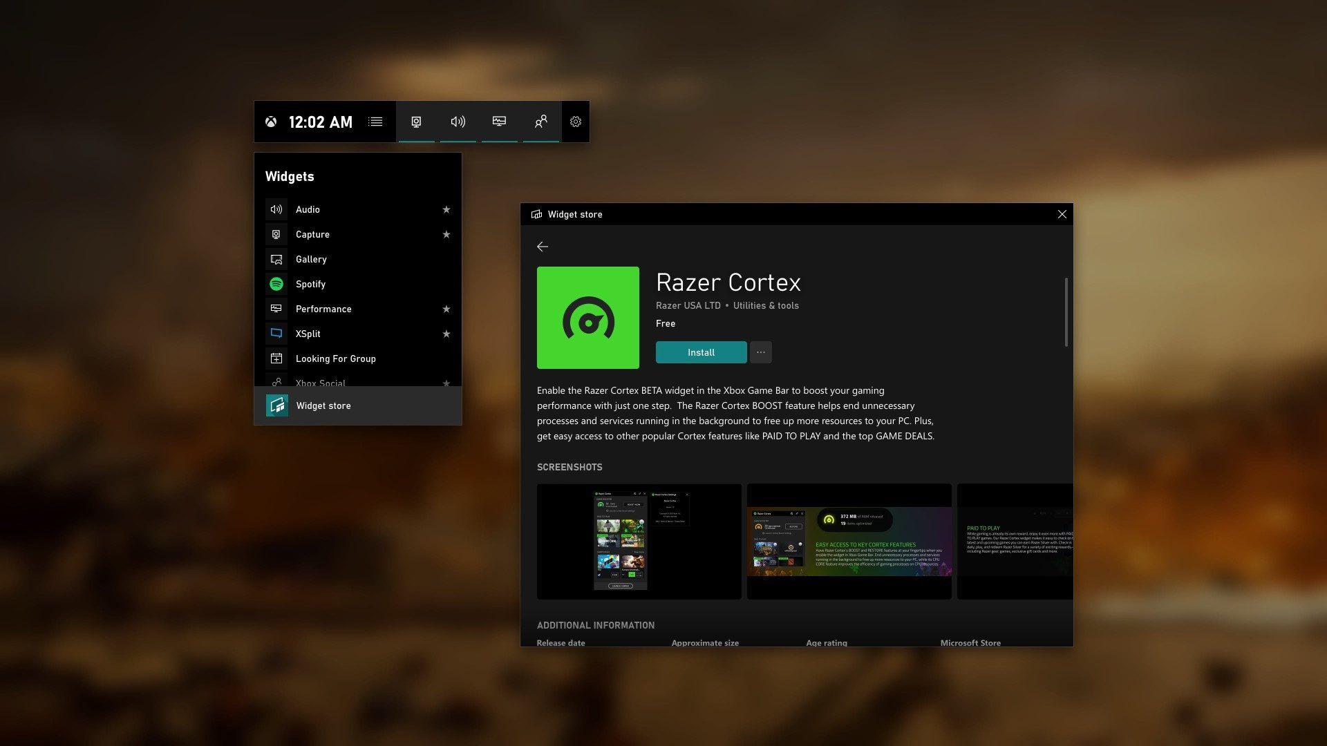 Tienda de Widget de la Barra de juego de Xbox en Windows 10