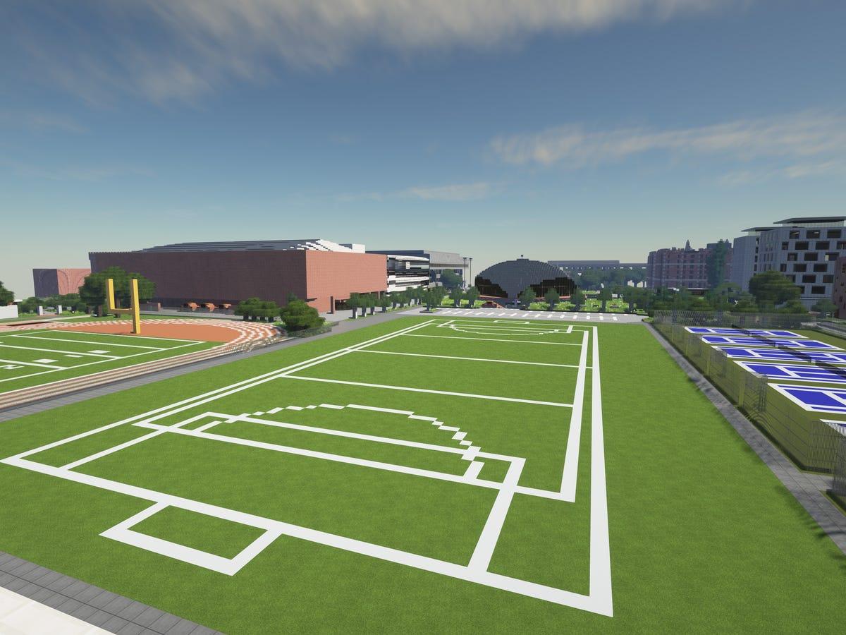Zona de deportes en MInecraft, donde pueden realizar eventos