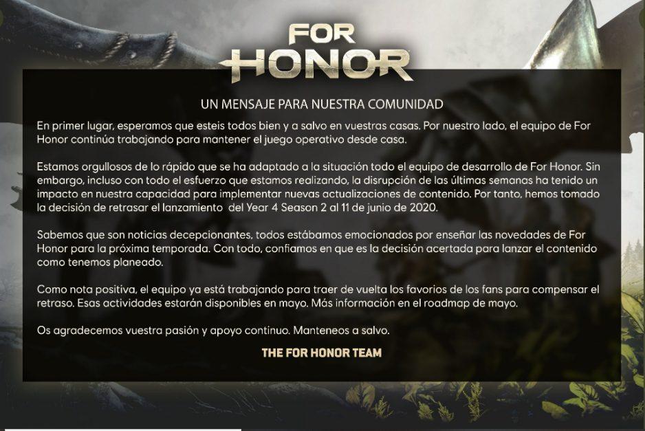 Ubisoft retrasa la nueva temporada de For Honor