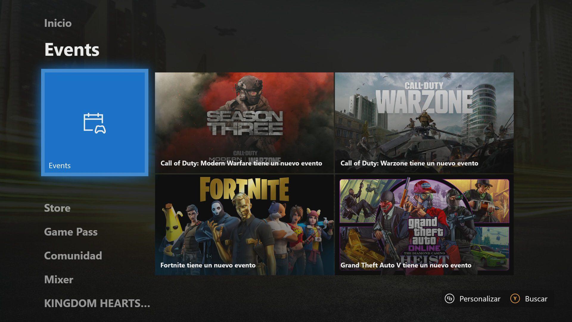 Bloque eventos en Xbox One actualización de mayo 2020
