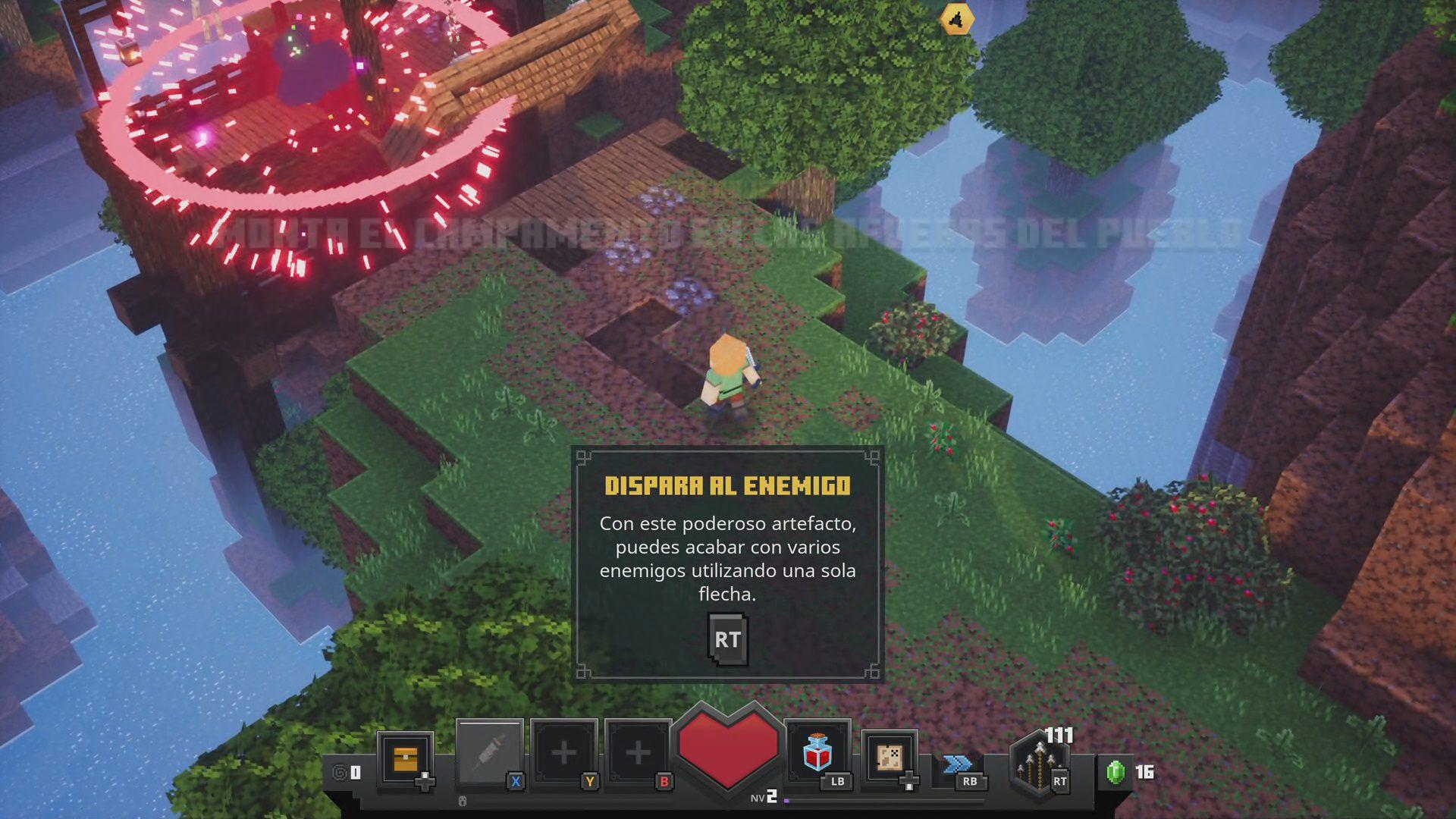 Ejemplo del cohete como munición del arco en Minecraft Dungeons