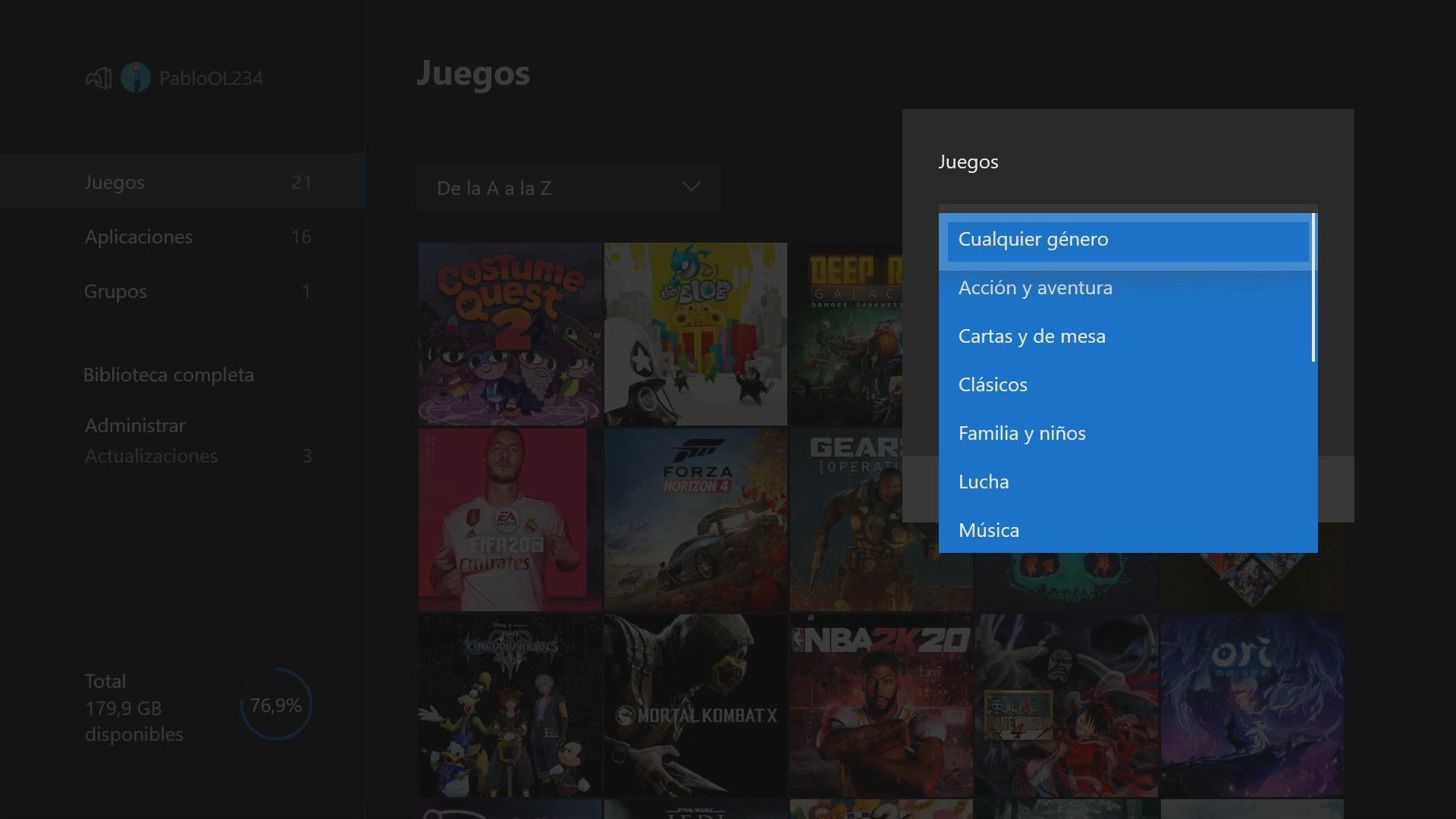 Filtrar por género en Xbox One actualización de mayo 2020