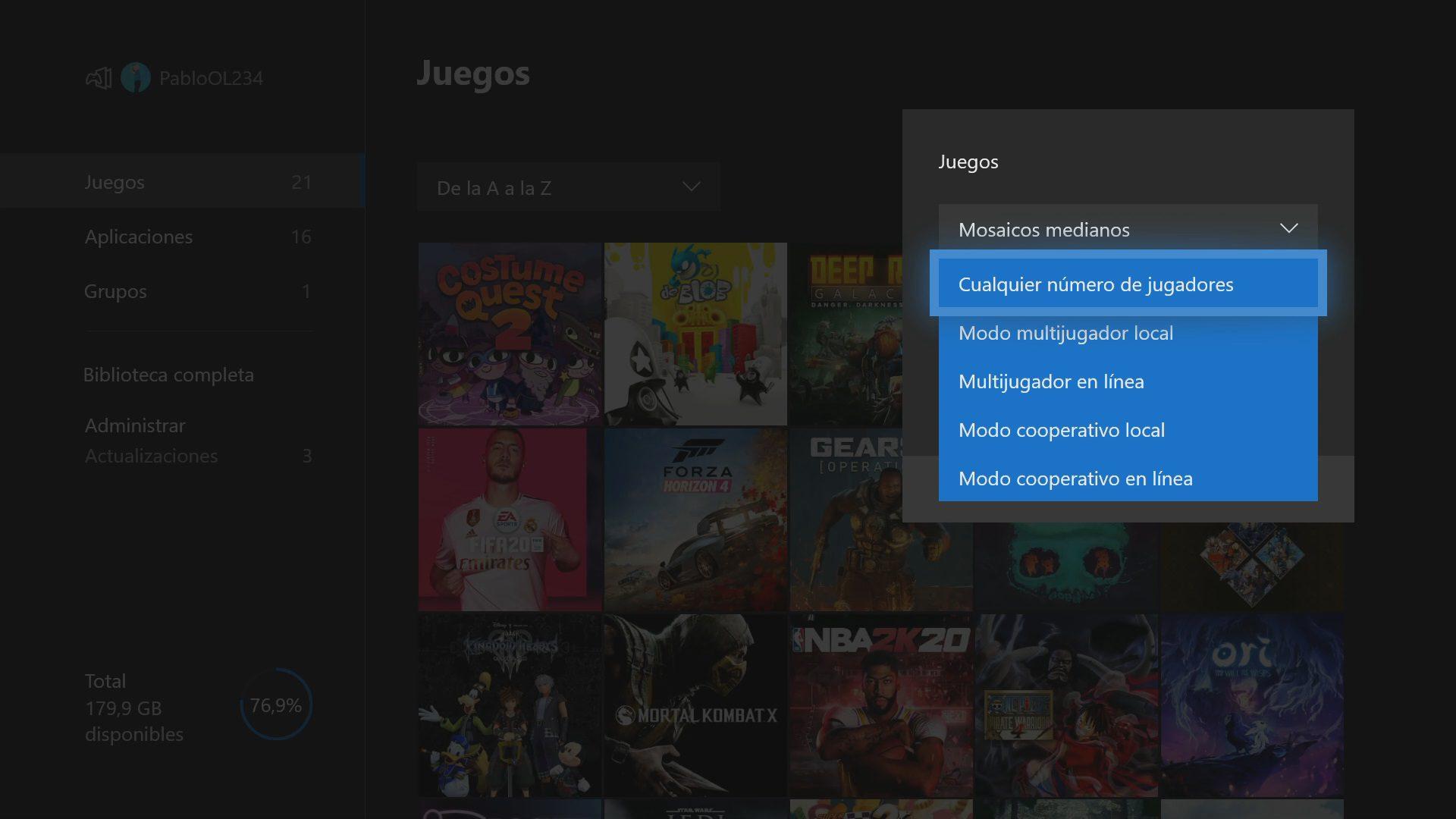 Filtrar por número de jugadores en Xbox One actualización de mayo 2020