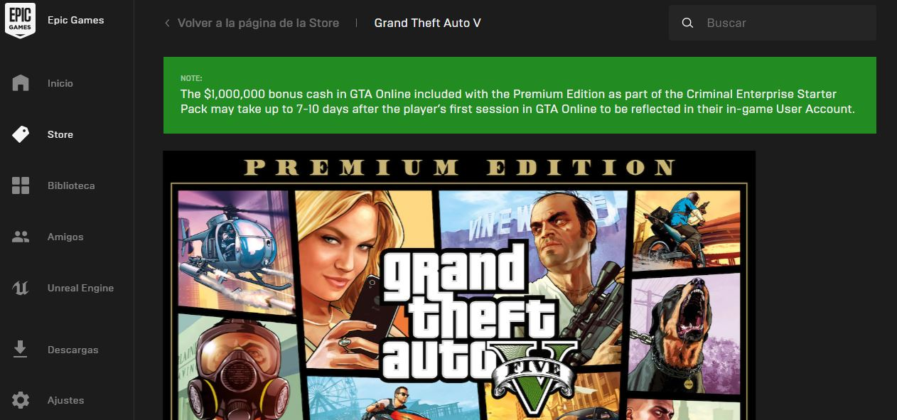 GTA V ya disponible GRATIS en la Epic Games Store